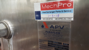 APV heat exchanger service by MechPro Inc.